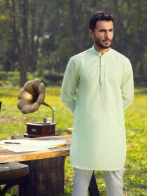 Light Cyan Cotton Kurta for Men