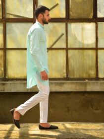Aqua Blue Cotton Kurta for Men