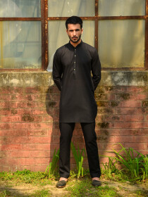 Nightfall Black Cotton Suit for Men