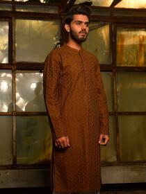 Brown Embroidered Cotton Kurta For Men