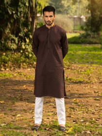 Umber Embroidered Cotton Kurta for Men