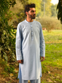 Light Blue Cotton Suit for Men