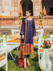 Kaasni by Panache Blue Embroidered Lawn Unstitched 3 Piece Suit