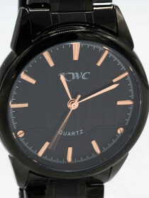 Traditional Quartz Black Dial Black Bracelet Men's Watch