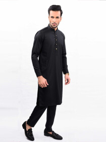 THE JET BLACK KURTA PAJAMA REGULAR FIT