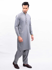 GREY TEXTURED KURTA SHALWAR SLIM FIT