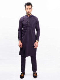 DEEP PURPLE KURTA PAJAMA SLIM FIT