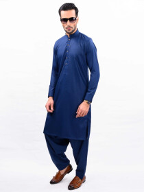 ROYAL BLUE SELF KURTA SHALWAR SLIM FIT