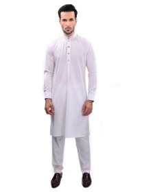 WHITE KURTA PAJAMA SLIM FIT