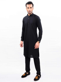 BLACK TEXTURED KURTA PAJAMA SLIM FIT