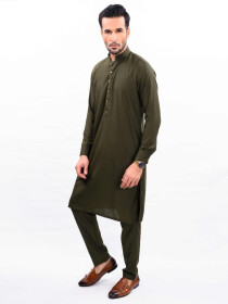 OLIVE GREEN KURTA PAJAMA SLIM FIT