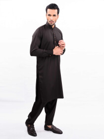 BROWN KURTA SHALWAR REGULAR FIT