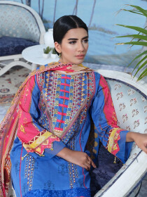 Blue Embroidered & Digital Print Unstitched 3 Piece Suit for Women