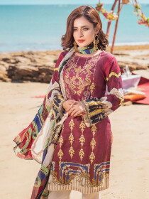 Maroon Embroidered & Digital Print Unstitched 3 Piece Suit for Women