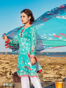 Turquoise Embroidered & Digital Print Unstitched 3 Piece Suit for Women