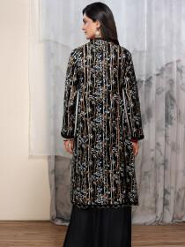 Black Digital Print Unstitched Shirt for Women