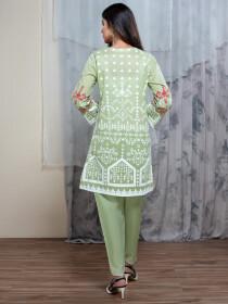 Green Digital Print Unstitched Shirt for Women