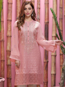 Pink Embroidered Chiffon Unstitched Shirt for Women