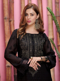 Black Embroidered Chiffon Unstitched Shirt for Women