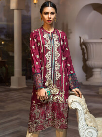 Maroon Embroidered Thai Silk Unstitched Shirt for Women