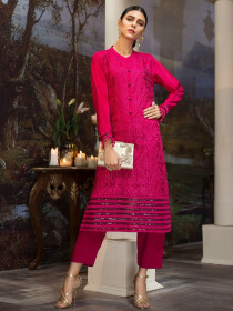 Fuchsia Embroidered Raw Silk  Unstitched Shirt for Women