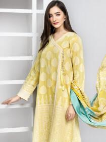 Lemon Unstitched 3-Piece Jacquard Suit for Women