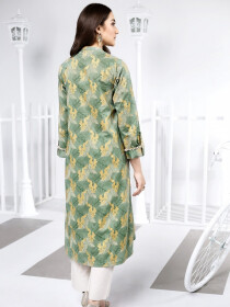 Aqua Printed Unstitched Lawn Shirt for Women