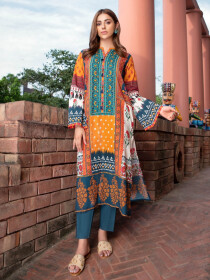 Multicolored Printed Unstitched 2-Piece Cambric Suit for Women