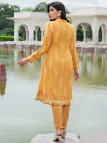Yellow Jacquard Unstitched Shirt for Women