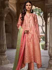 Tea Pink  Unstitched 3-Piece Jacquard Suit for Women