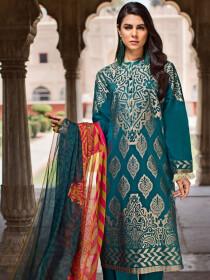 Green Unstitched 3-Piece Jacquard Suit for Women