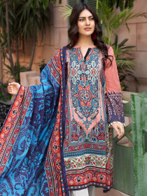 Multicolored Printed Unstitched 2-Piece Lawn Suit for Women