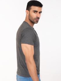 Charcoal Henley Half Sleeve T-shirt for Men