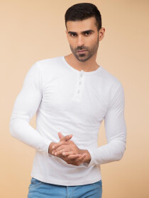 White Henley Full Sleeve T-shirt for Men