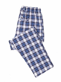 Blue Grey White Check Cotton Baggy Pajamas