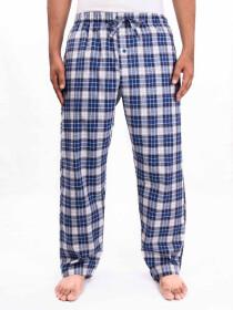 Blue Grey White Check Cotton Baggy Pajamas