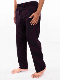 Maroon & Black Lining Cotton Blend Relaxed Pajamas