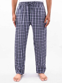 Navy & White Check Cotton Blend Relaxed Pajamas