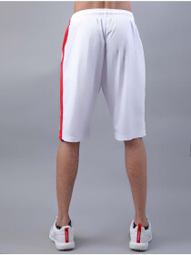 FIREOX White & Red Polyester Active Fit Shorts for Men