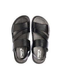 Black Leather Casual Sandal For Men