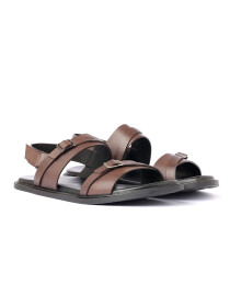 Brown Leather Casual Sandal For Men