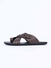 Brown Leather Casual Slippers For Men