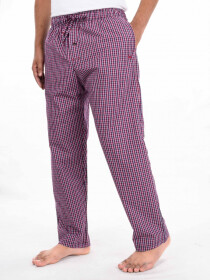 Maroon Blue & White Cotton Blend Relaxed Pajamas