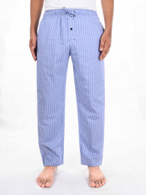 Sky blue & White Check Cotton Blend Trim Fit Stretch Pajama
