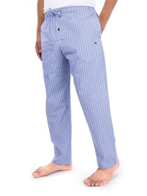 blue/White Check Cotton Blend Trim Fit Stretch Pajama
