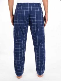 Blue and White Plaid Cotton Blend Trim Fit Stretch Pajama