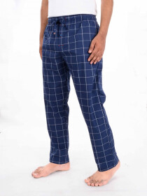 Blue and White Plaid Cotton Blend Trim Fit Stretch Pajama