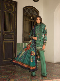 Green Embroidered & Digital Print Unstitched 3 Piece Suit for Women