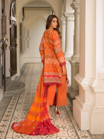 Orange Embroidered & Digital Print Unstitched 3 Piece Suit for Women