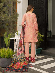 Pink & Red Embroidered & Digital Print Unstitched 3 Piece Suit for Women